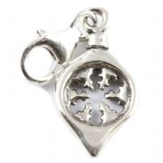 Christmas Tree Bauble Sterling Silver Clip On Charm - With Clasp